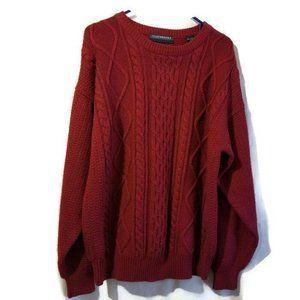 Claybrooke Mens Crewneck Sweater Size L Maroon Lon